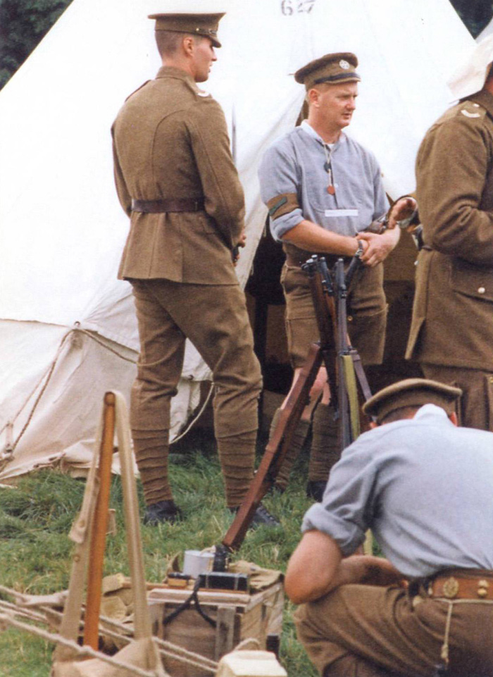 A First World War re-enactment group in the universal khaki service dress issued in 1904