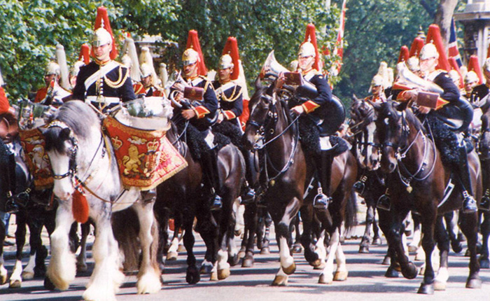 Household Cavalry bands in mounted review order, Blues and Royals to the fore