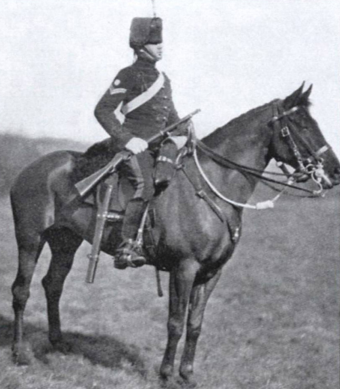 A corporal of the 14th Hussars in the mounted review order of 1880-1900