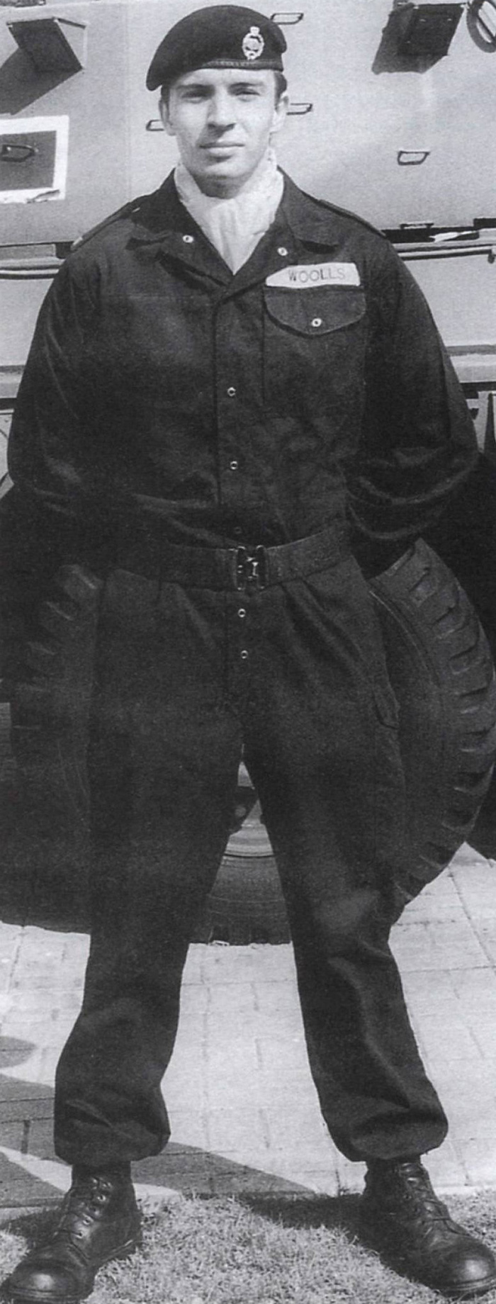 'Tankie' in the black beret and coveralls
