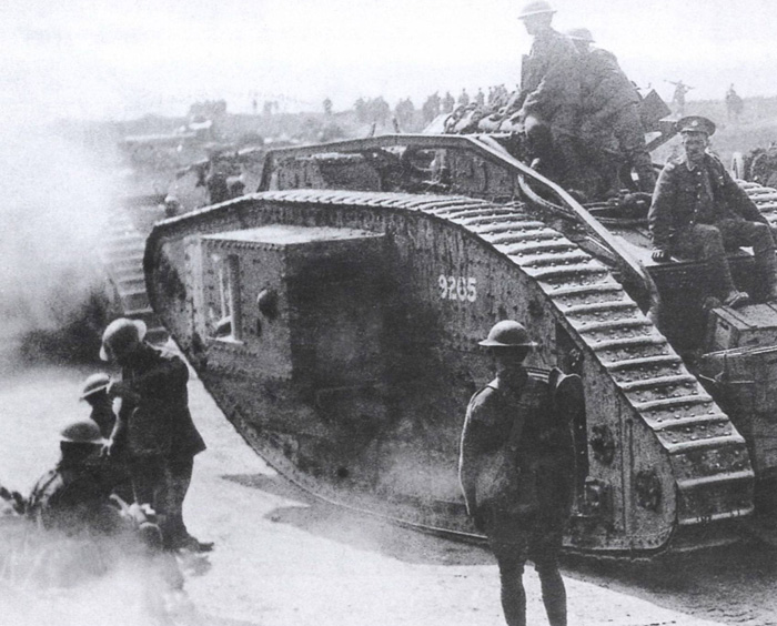 The Mark V arrived at the front in 1918 and was used in action at Hamel and Moreuil