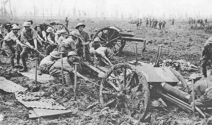 Hauling an 18-pounder field gun through the summer mud of Flanders