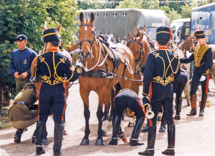 A gun team of the King's Troop RHA behind the scenes at a show in the 1990s